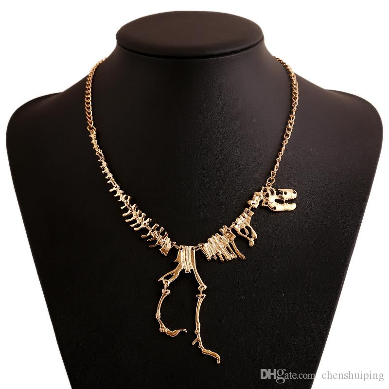 Venta al por mayor Punk Style Gothic Tyrannosaurus Rex Esqueleto Dinosaurio Collar T-Rex Bone Funky Collar de cadena Colgante de oro plata Negro Gargantillas