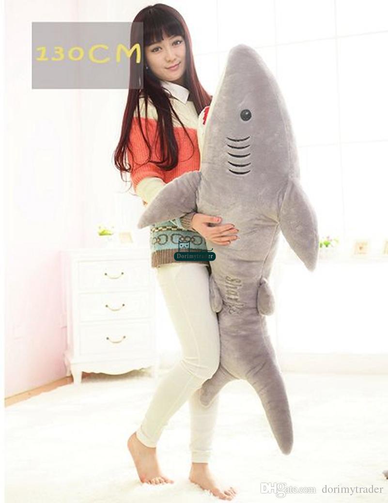 Dorimytrader 51'' / 130cm Giant Plush Soft Stuffed Large Animal Shark Toy Birthday Gift for Kids Lover Doll DY60661