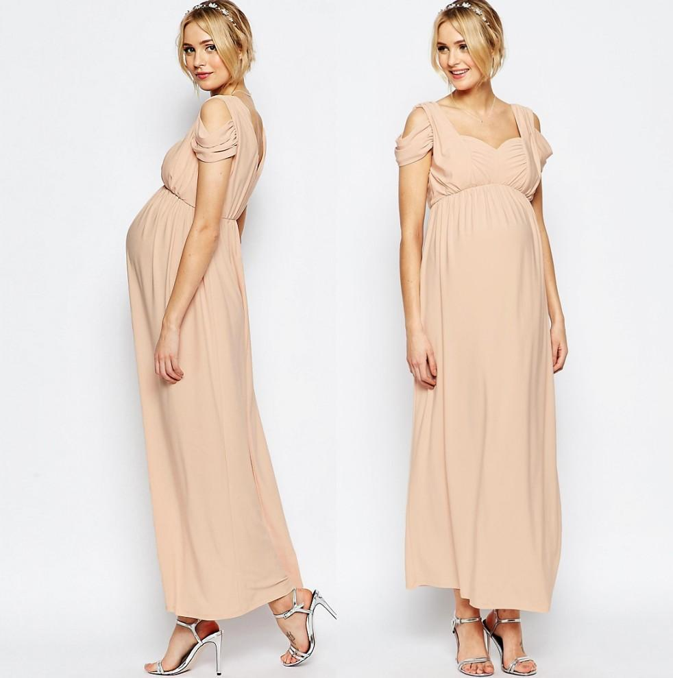 Chiffon Champagne Bridesmaid Dresses Long Maternity