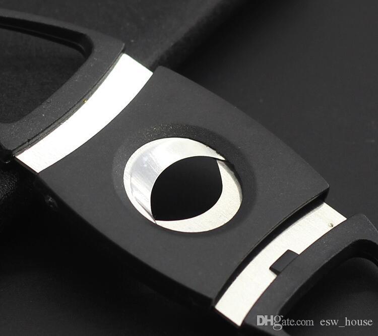 Novo Bolso de Aço Inoxidável Dupla Lâmina Cortador De Charuto Tesoura de Plástico Lidar Com Ferramentas Portáteis cor preta frete grátis