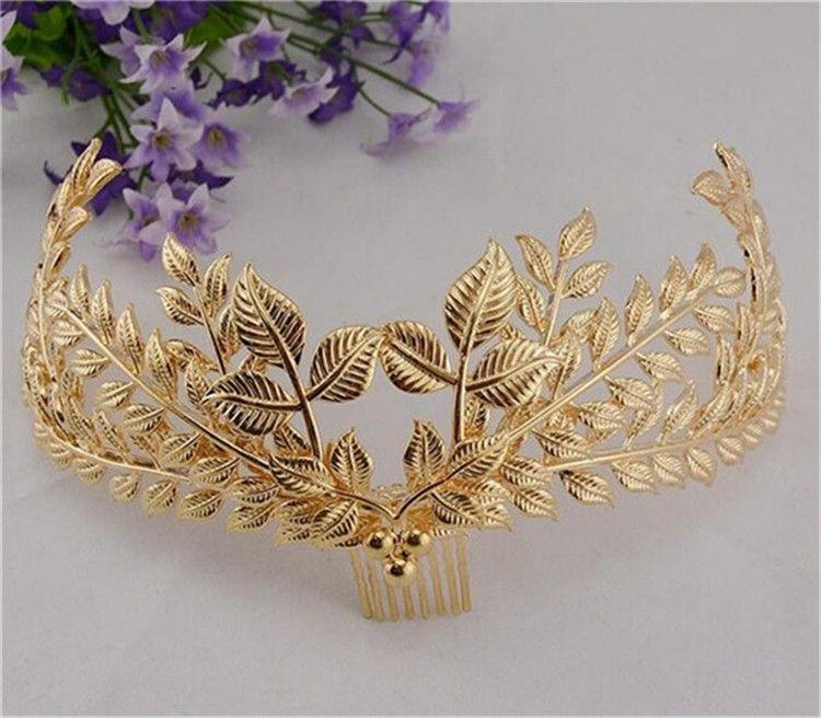 Nueva moda Cabeza Joyería Headwear dorado Hojas Diadema Accesorio para el cabello Mujeres Hairband con peine Joyería del pelo de la boda
