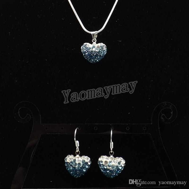 New Arrive Heart Shape Rhinestone Jewelry Set Gradient Peacock Earrings And Necklace For Women Wholesale