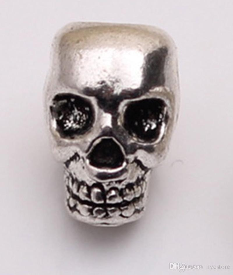 Großhandel Schädel Kopf Perlen Skeleton Evil Zink Metalllegierung Großes Loch Charm Bead Fit Europäische Kette Pandora Armbänder Schmuck 100 stücke