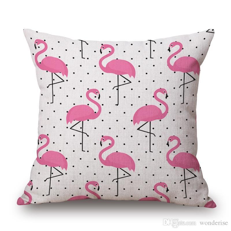 6 Arten Flamingos Vögel Kissenbezüge Sommer Hand Malerei Flamingo Vogel Blume Kissenbezug Dekorative Leinen Kissenbezug