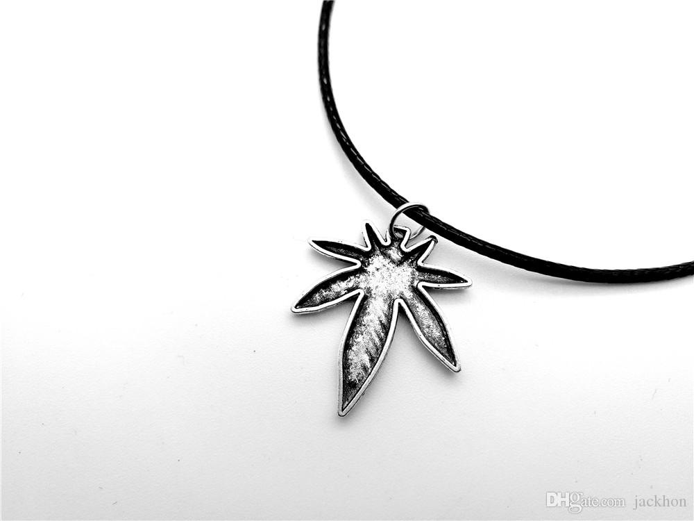 European American Canada Jamaica Hemp Maple Leaf Necklace Pendants African Plants Long Tree Foliage Leaves Leather Rope Necklaces