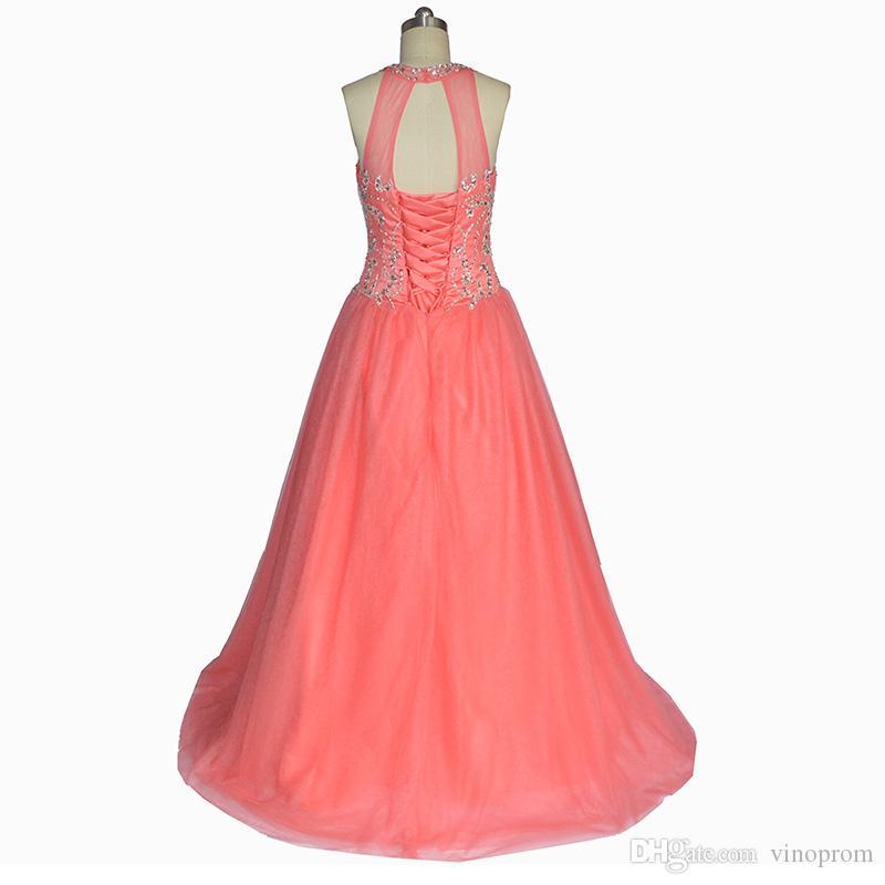 Real Photo Ball Gown Vestido De Festa Longo Coral Tulle Abiti Quinceanera Cap maniche in rilievo da sera Prom Gown Abiti 2018