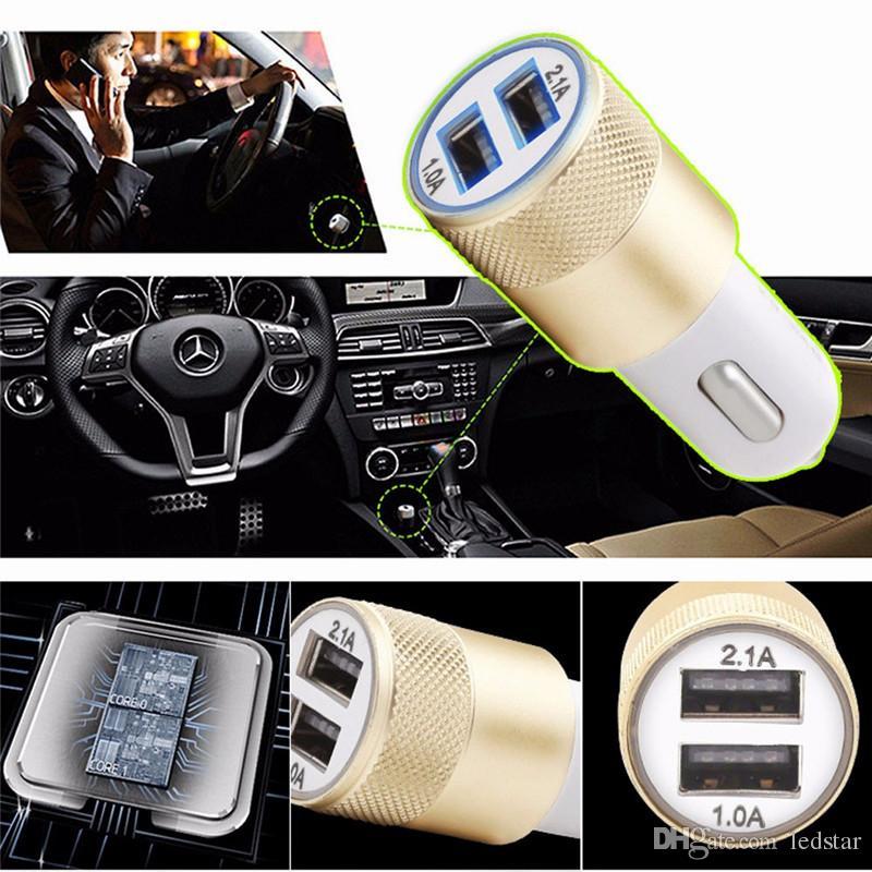 Best Metal Dual USB Port Car Chargers Charging Adapter Universal for Apple iPhone iPad iPod / Samsung Galaxy / Motorola HTC LG Huawei