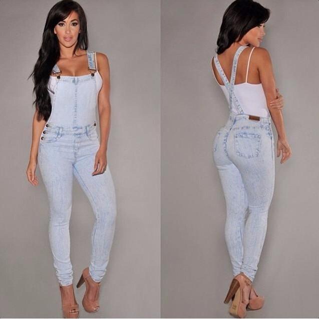 Compre Denim Overol Mujer 2016 Hot Summer Jeans Denim Monos Y Mamelucos  Casual Azul Claro Full Pocket Bodycon Denim Overol A  27.75 Del Ellen0508  75d0114420f6