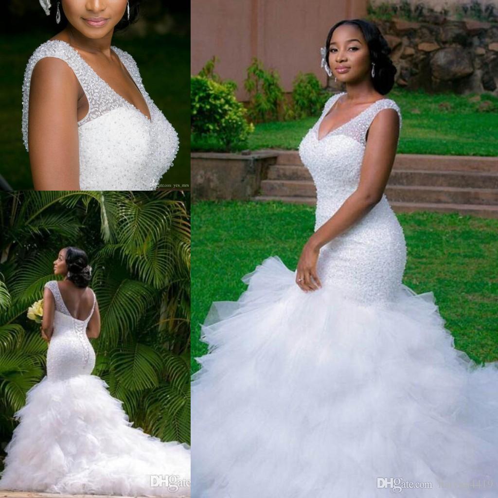 2020 섹시한 아프리카 블링 머메이드 웨딩 드레스 V 넥 크리스탈 페르시 껍질 계층화 된 스커트 오픈 카트 열기 기차 플러스 사이즈 신부 가운