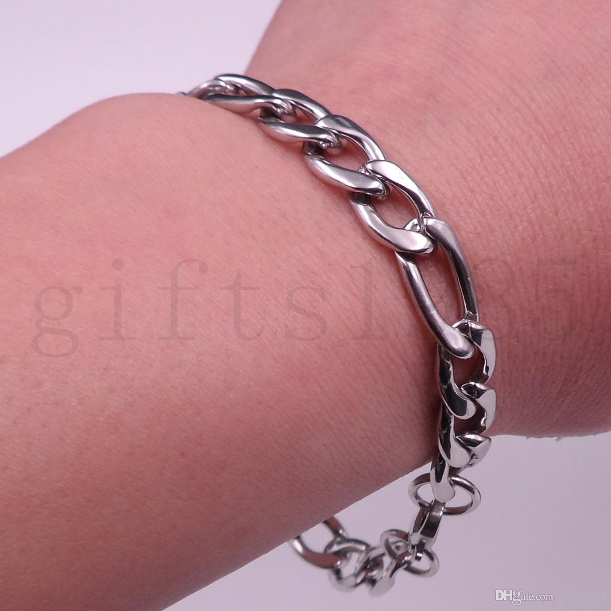 Moda masculina de aço inoxidável Figaro cadeia 9 MM Pulseira 8.6 polegada Colar 26 polegada