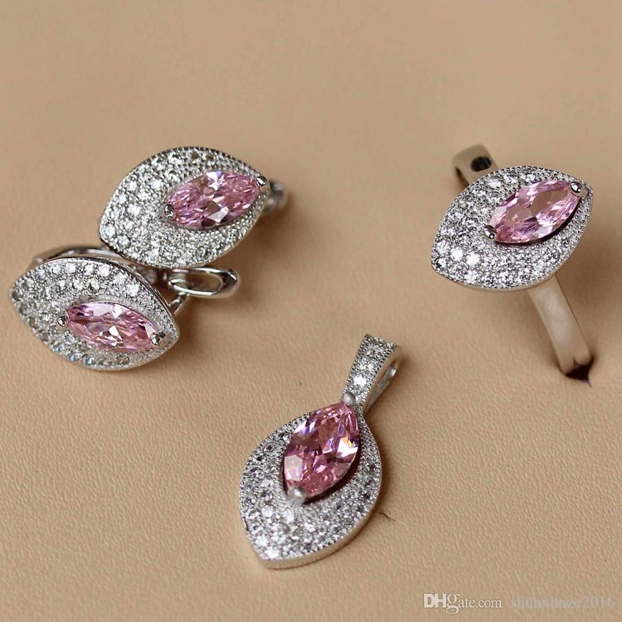 Copper Rhodium Plated Cute heart set ring/earring/pendant Pink Cubic Zirconia Noble Generous MNsz#6 7 8 9 Charm Fancy New Arrivals