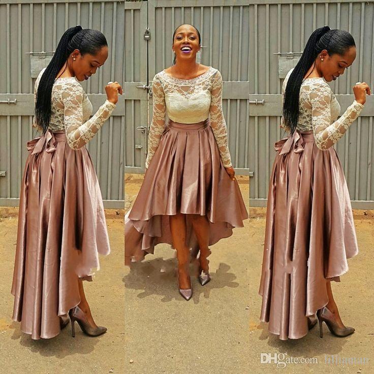 Hoge lage roze prom jurk bella nijeja bruidsmeisje jurken kant top bruiloft gasten jurken lange mouwen plus size avondjurken