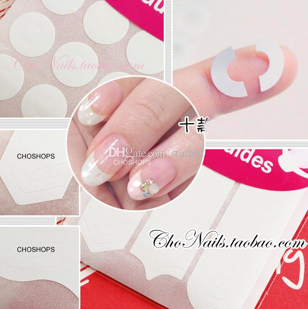 Nail Art Stickers Decals DIY Manicure Nail Art Tips Tape Sticker Guide Stencil Masking Decal Beauty Tools Smile Round Wave /pack WX-S19