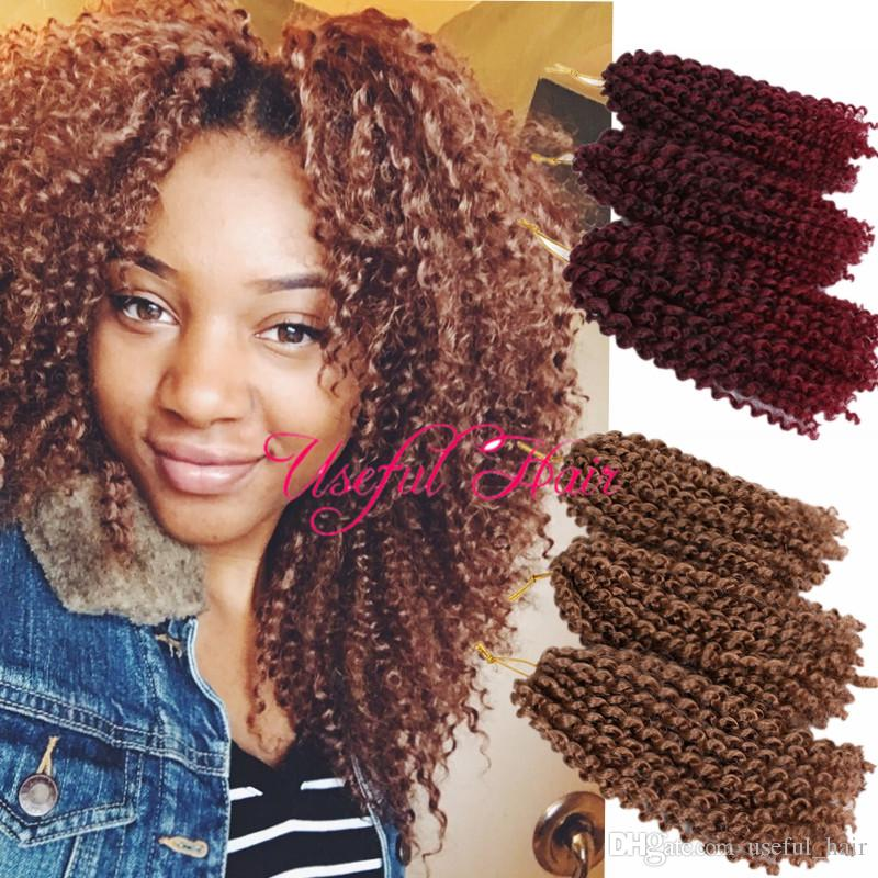 Mali Bob Marley 27 Ombre Brown Blonde Color MALIBOB 8INCH MARLYBOB KINKY CURLY HAIR Crochet Braids Hair Extensions SYNTHETIC BARIDING Marlybob