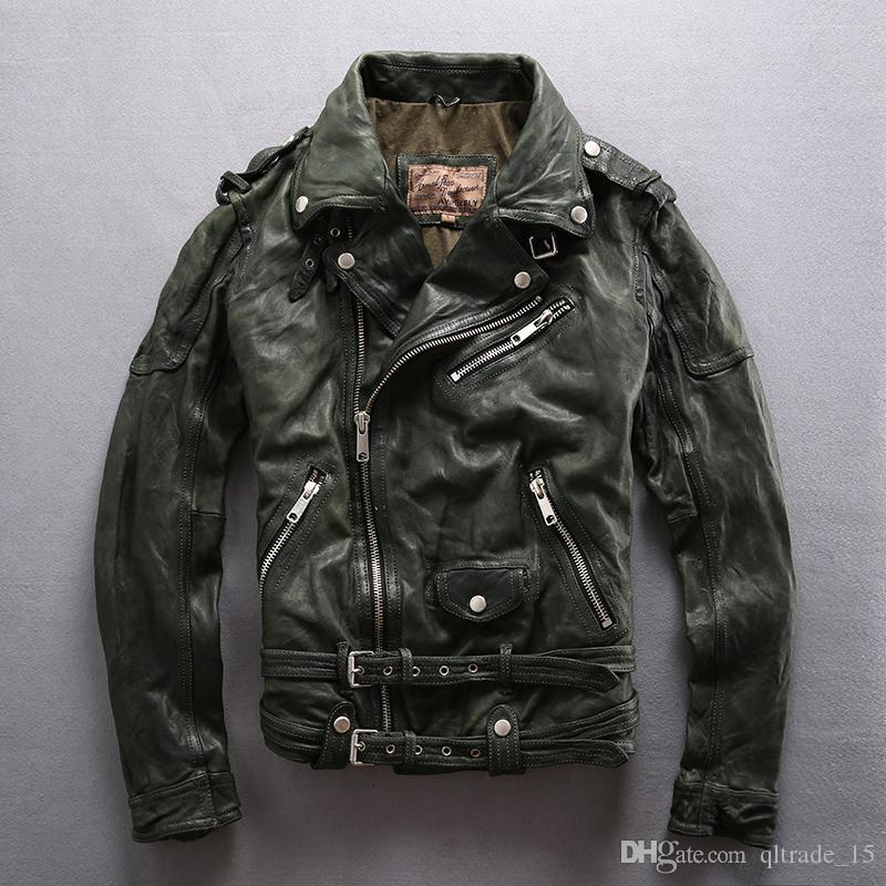 Avirexfly reunindo jaquetas de couro de carneiro com zíper oblíqua lapela pescoço jaqueta de motocicleta