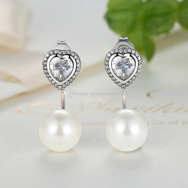 Authentic 925 Sterling Silver Female Earrings with Clear Cubic Zirconia Heart & White Fresh Water Cultured Pearl Dangle Earrings ER036