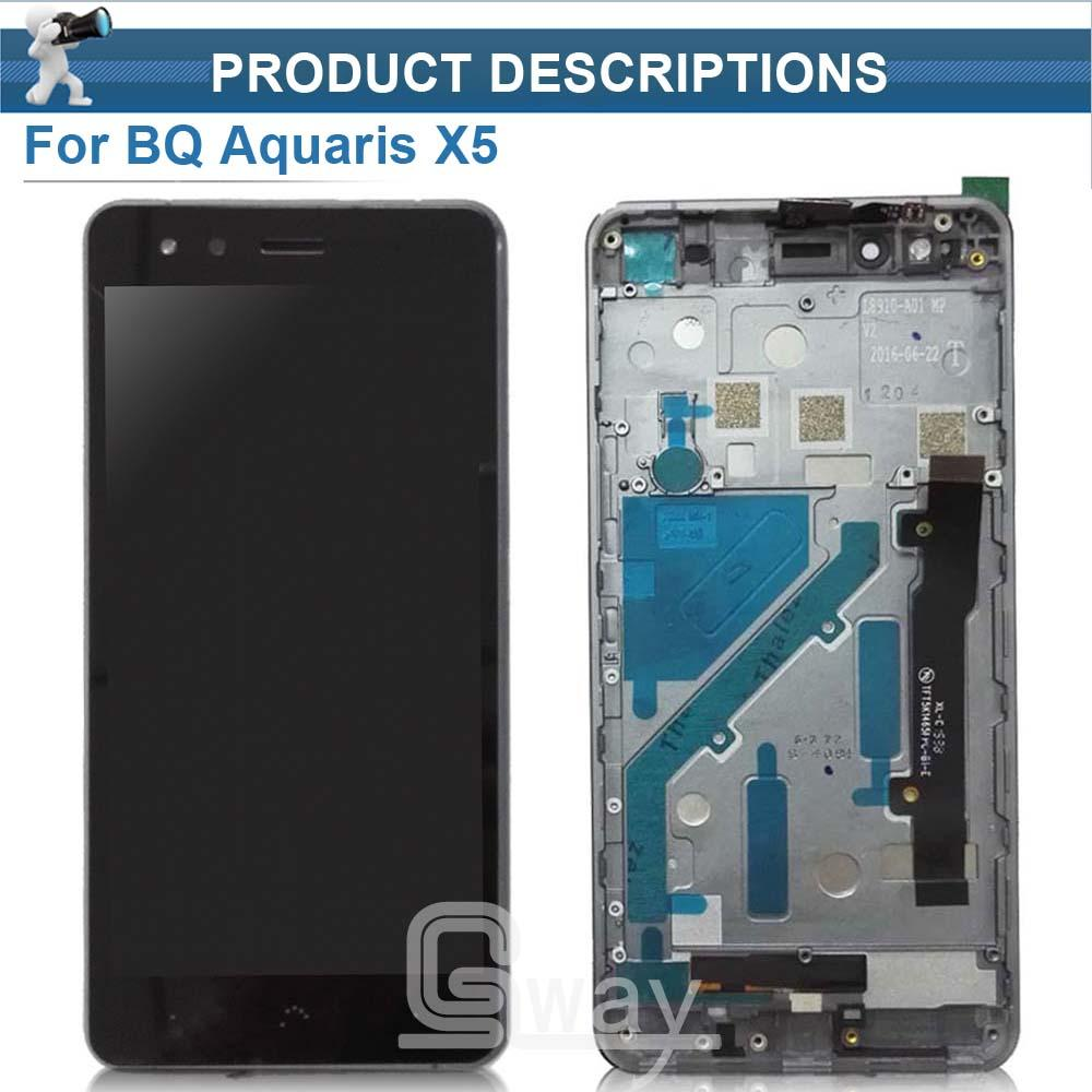 Wholesale- BQ X5 LCD Display Touch Screen digitizer sensor assembly with  frame for BQ Aquaris X5 lcd screen Tools
