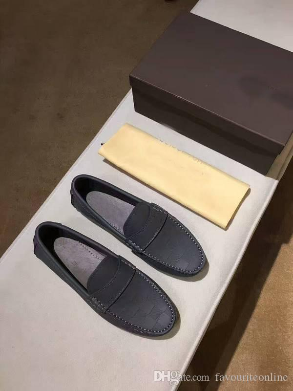 Original Box!!!New Fashion Mens Loafers Dress Wedding Leather Shoes Casual Walk Shoes Paris Office Drive Flat Heel Top Quality Size38-44