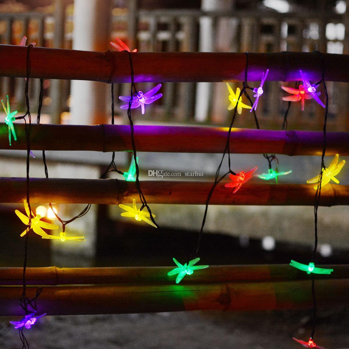 Date LED libellule solaire alimenté lumière halloween décorations de Noël