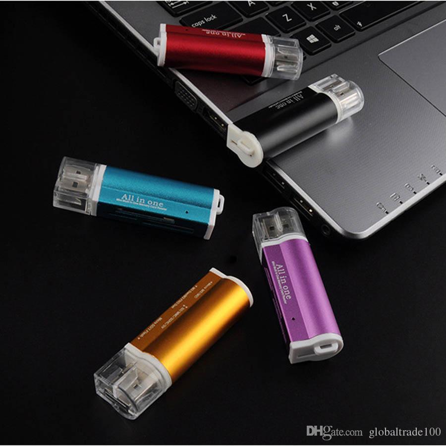 Adaptador de lector de tarjetas de memoria Multi All in 1 Micro USB 2.0 para Micro SD SDHC TF M2 MMC MS PRO Lector de tarjetas