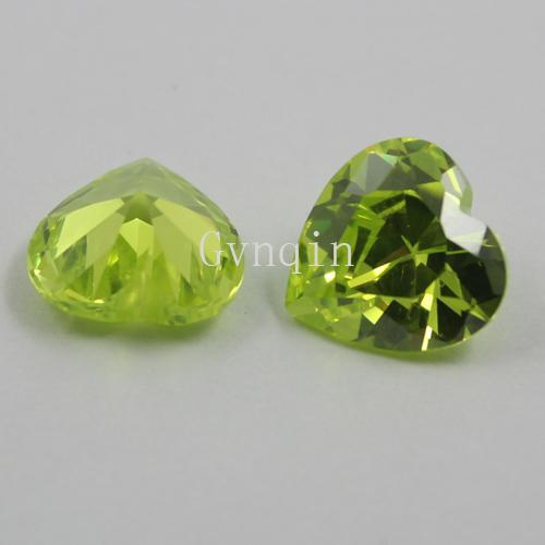 / liberan la 5x5mm-12x12mm óxido de circonio cúbico de manzana verde corazón piedras sueltas de la gema