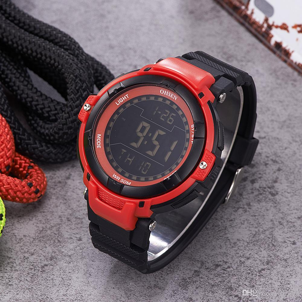 Fashion Brand OHSEN Digital Watch Men Relogios Running Sport Watch Men Rubber Band LED Water Resistant Electronic Wrsit Watches