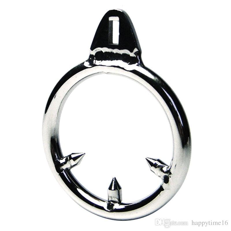 3 dimensioni maschili castità dispositivo cazzo gabbie aggiuntivi Barb anello pene in acciaio inox anti-eruzione anello anti-spargimento