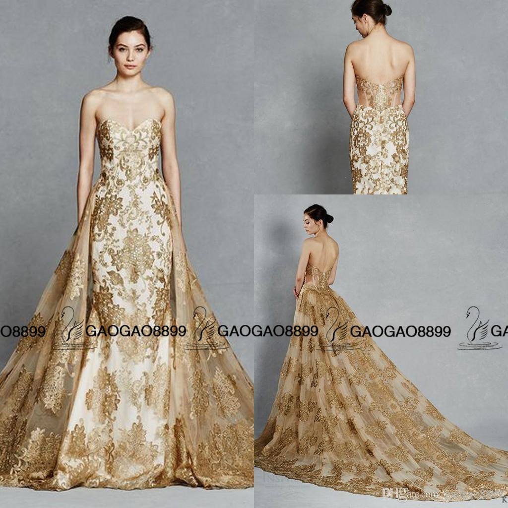 Kelly Faetanini Gold Color Embroidery Train Detachable Royal Wedding Dresses 2016 Sparkly Sweetheart Backless Two Pieces Gown Satin Mermaid