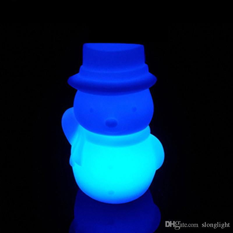 Spedizione gratuita ricaricabile Snowman LED Lampade da tavolo camera da letto Luminaria De Mesa Lampada da notte in plastica i bambini regalo di Natale