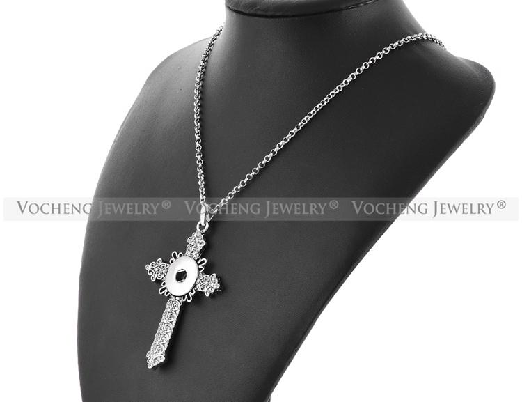 NOOSA Croix Collier Gingembre Snap Bijoux 18mm Vintage Pendentif avec Chaîne Acier Inoxydable NN-433