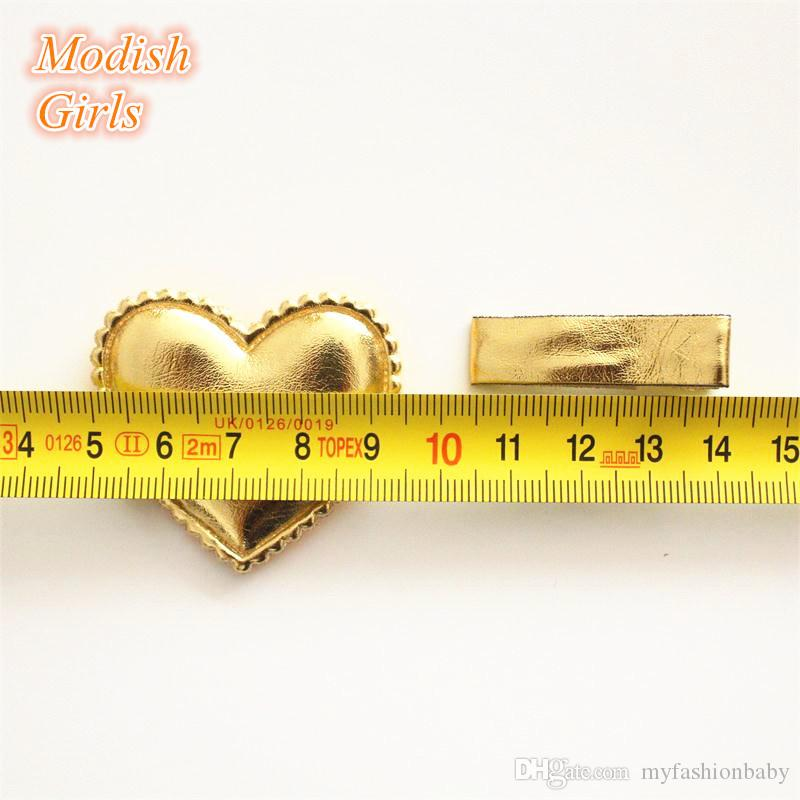Love Heart Design Shinning PU Hair Clips Synthetic Leather Baby Girls Barrettes Bestseller Felt Kids Jewelry Hairpins