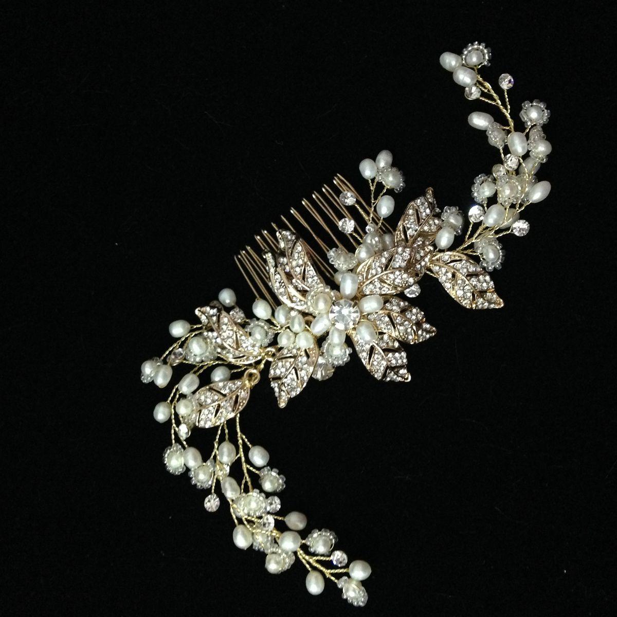 gold wedding hair comb with twigs handmade wedding headpiece pearl