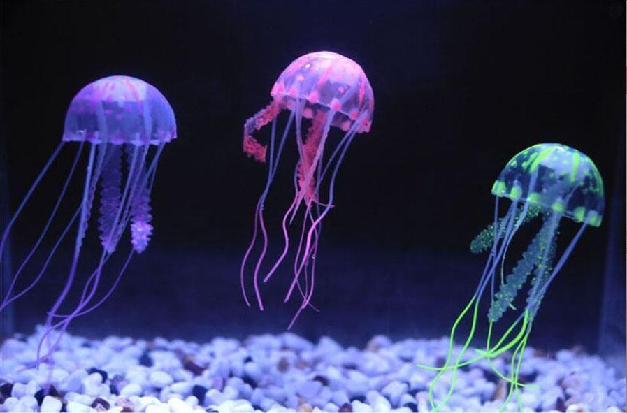 Belle Artificielle Vivante Méduses Silicone Réservoir De Poisson Décor Aquarium Décoration Ornement, Petite Taille, Avec Boîte De Emballage De Détail