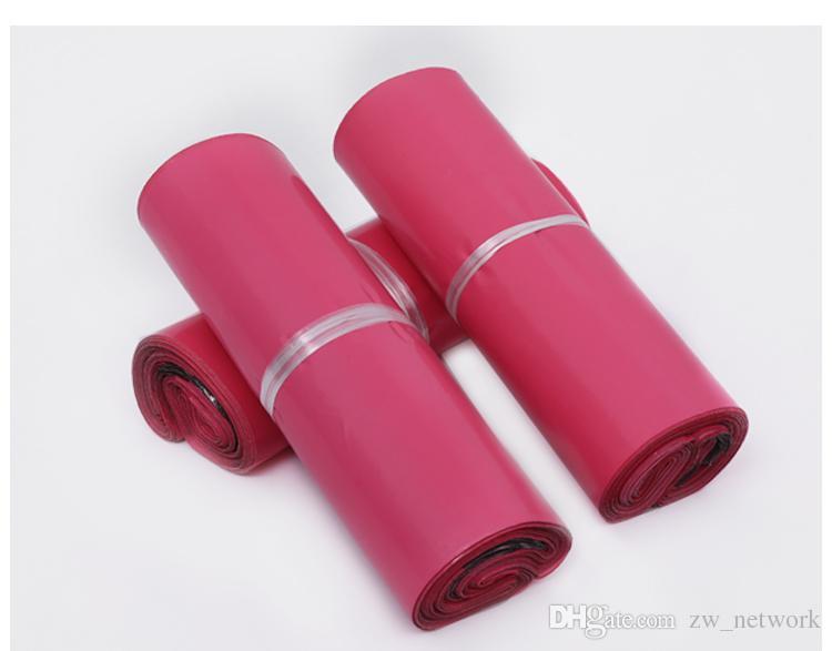 100 teile / los Rosa Poly Mailer 10 * 13 zoll Express Tasche 25 * 35 cm Mail Taschen Umschlag / Selbstklebende Dichtung plastiktüten beutel