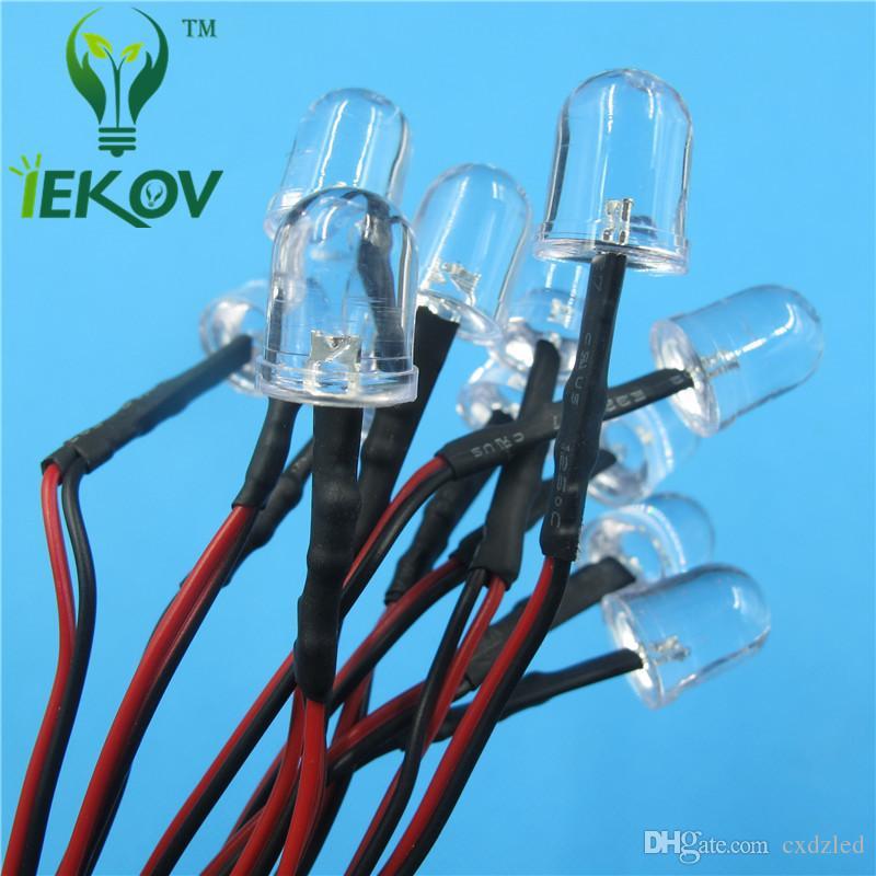 10MM 12v Pre-Wired Resistor Orange Leds Round Top 12V DC 20cm Emitting Diode Led Lamp Light For car DIY HOT SALE Retail
