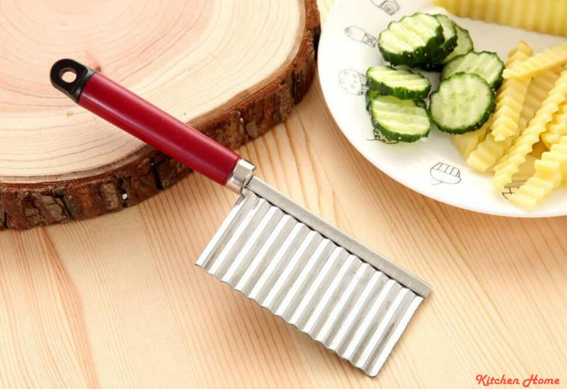 Stainless Steel Potato Fry Cutters Wavy Edged Vegetable Knife Potato Cut Fries Device Kitchen Vegetable Fruit Knives Gadgets Cooking Tools