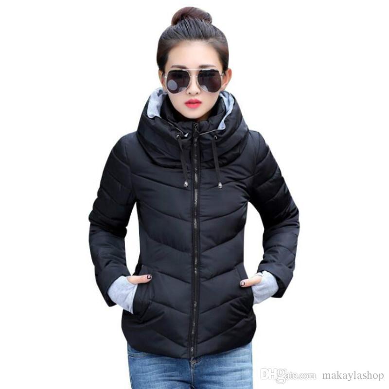 pas mal f626a dad4f Veste d hiver femme grande taille Parkas Femme Épaissir manteaux solides  manteaux à capuchon court femelle Slim coton rembourré tops de base