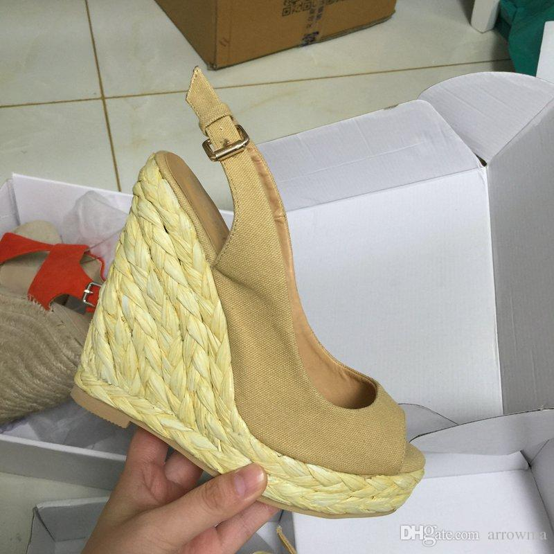 2016 Real Image Light Brown Buckle Strap Wedges Sexy Fashion Party Bridal Shoes Custom Made Plus Size Elegant Shoes Cheap Modest