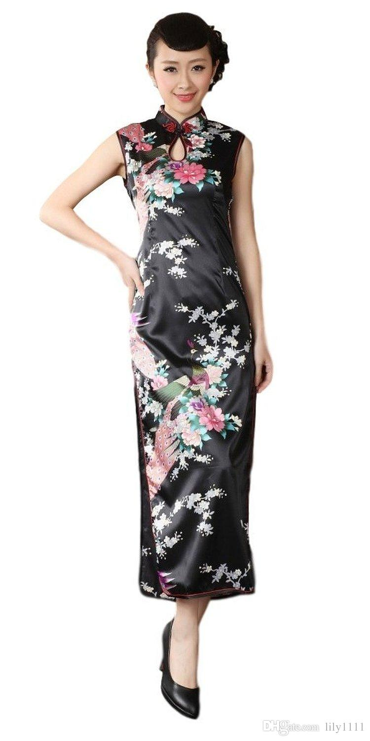 6d860693a2 Free shipping new Sleeveless Peacock Dress national trend chinese style  dress long cheongsam Keyhole chinese dress Qipao 4 Color