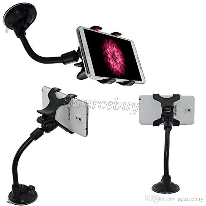 Pacchetto di vendita al dettaglio Supporto automatico Rotazione a 360 gradi Parabrezza ventosa Tubo morbido Doppie clip Staffa di montaggio a ventosa telefono cellulare GPS PDA