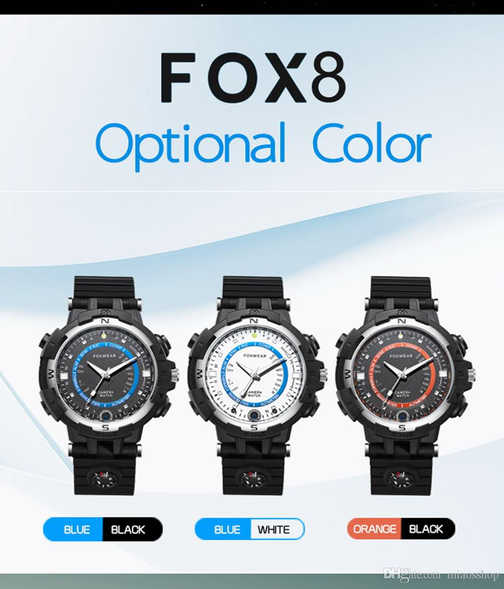 New Fox 8 Smart Camera Watch Wifi Remote Video Minitor HD Video Recorder Watch With Compass Led Flashlight For Android and IOS.