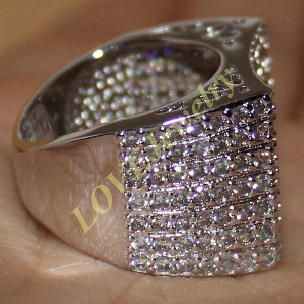 Eternity 14K oro bianco riempito rotondo simulato diamante diamante cz pave set anello cinturino da sposa le donne