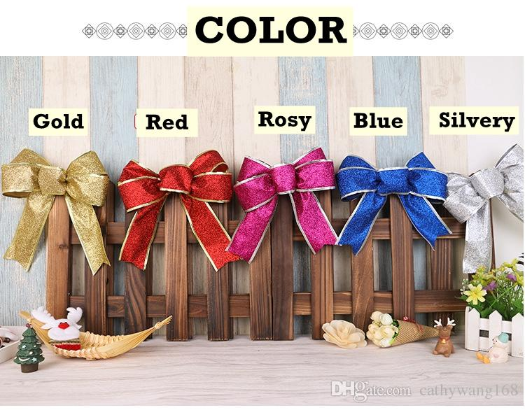 Christmas Tree Decorations Large Big Butterfly Ornament Bowknot Red Bowknot Hanging Decor Party Home Decoration New Year Festival Supplier