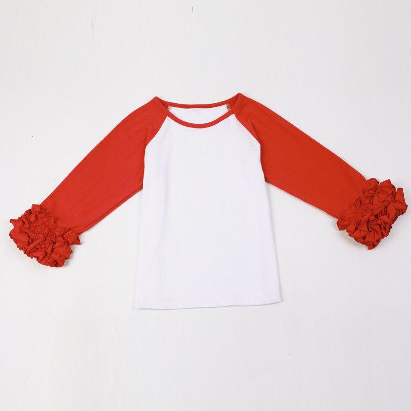 40fcd5ac80506 Ready To Ship Red White Cotton Christmas Baby Girls Icing Shirt Ruffle Fall  Girls Clothes Icing Raglans Tshirt Baby Girls Top 6T Girls Icing Shirt  Christmas ...