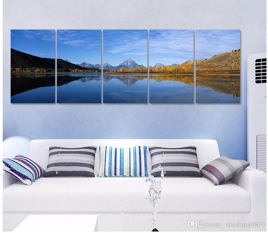 Tamanho grande 5 pçs / set Montanha paisagem lago decoração céu azul Pintura Da Lona arte da parede de impressão sala de estar decoração de casa sem moldura