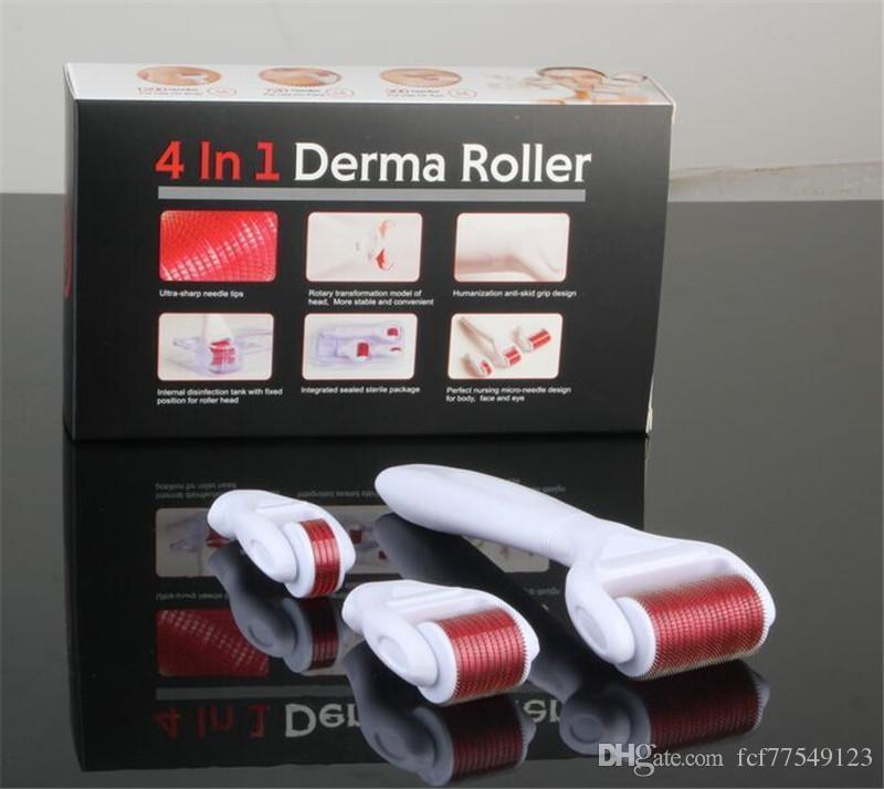 TM-DR006 ADEDI 1 ADET 4 in 1 Microneedle Paslanmaz / Titanyum Alaşım İğneler Drs Derma Rulo ile 3 Kafa 1200 + 720 + 300 İğneler Derma Roller Kiti