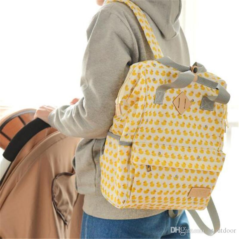 Casual Fashion Canvas Large Capacity Mummy Mommy Handbag Maternity Nappy Diaper Changing Bag Baby Nursing Pack Outdoor Travel Backpack