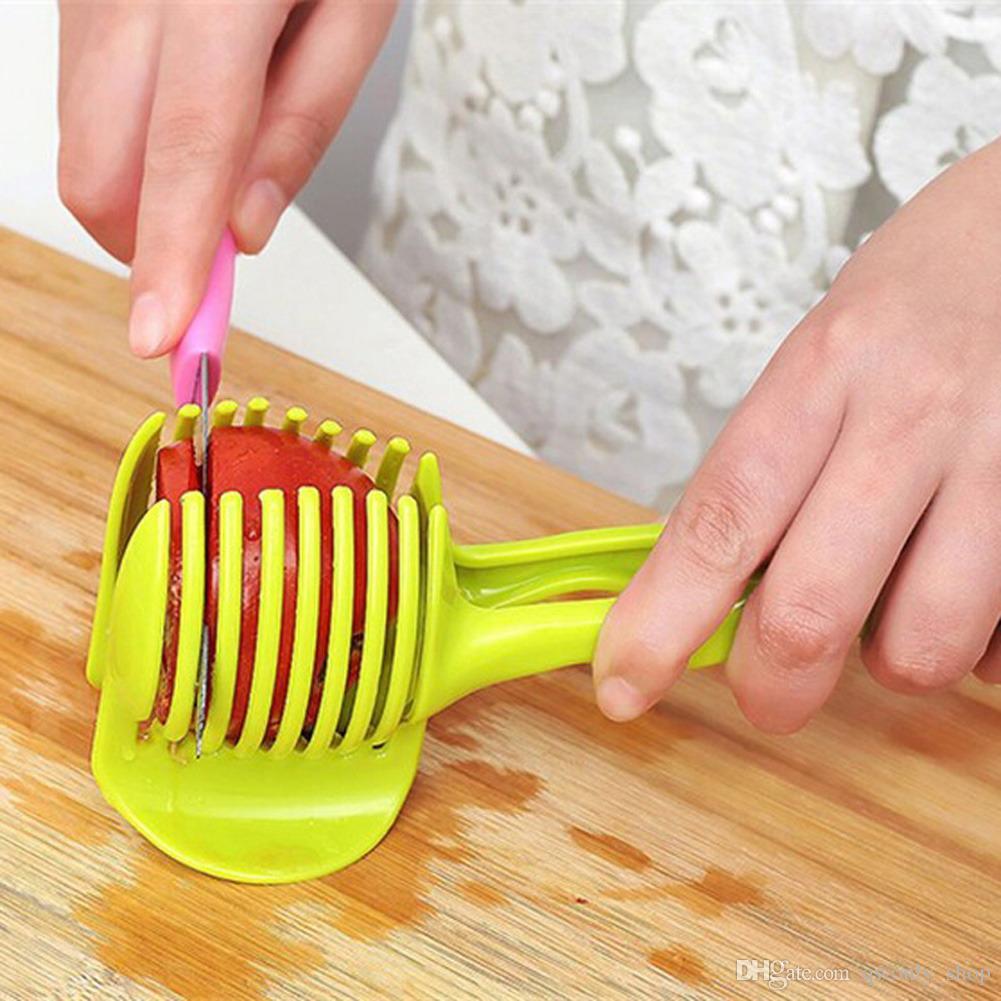 Tomato Slicer ABS Plastic Cutter Slicer Kitchen Gadgets Lemon Orange Fruit Knife Cake Holder Random Color