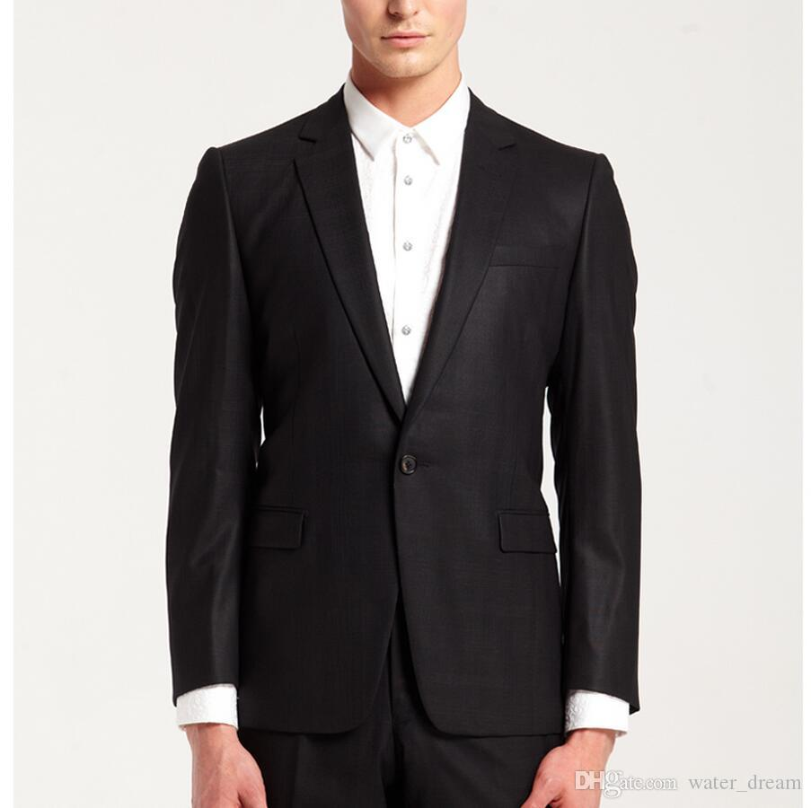 High quality customized man ball gown wedding the groom suit black lapel simple two-piece design groom dress jacket + pants