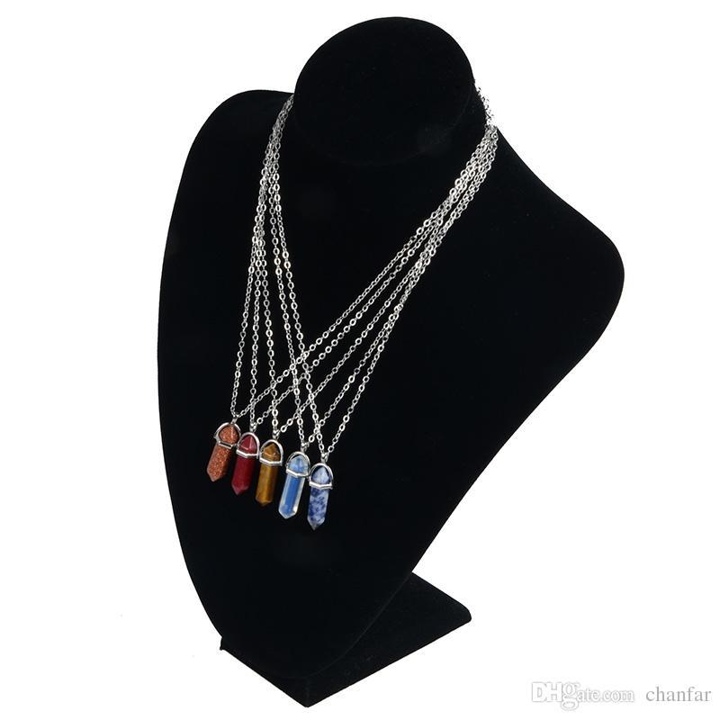 Mehrfarbengewehrkugel-Form Naturstein Anhänger Sechseckprismas Quarz Türkis Kristalledelsteine Halskette Schmuck für Frauen Männer Gold Silber